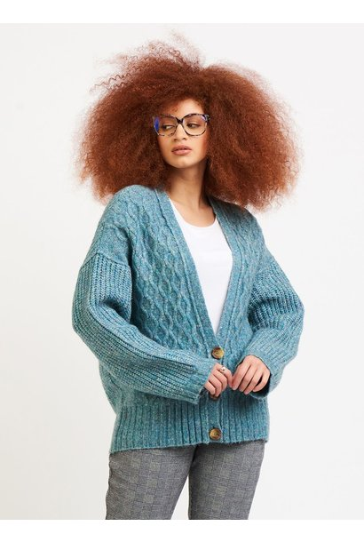 Cable Knit Cardigan TEAL