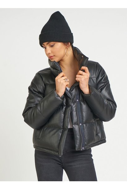 Faux Leather Crop Puffer BLK