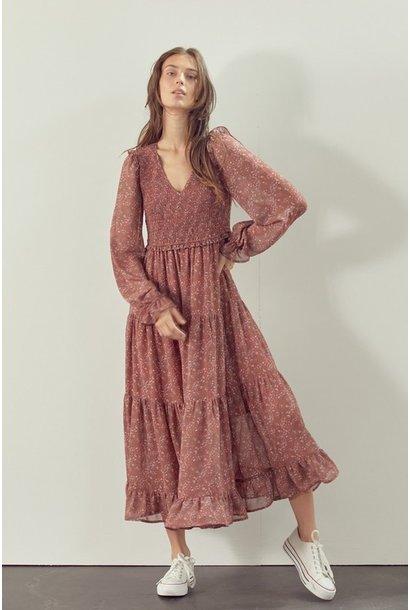 Jill Allover Floral Maxi Dress CLAY