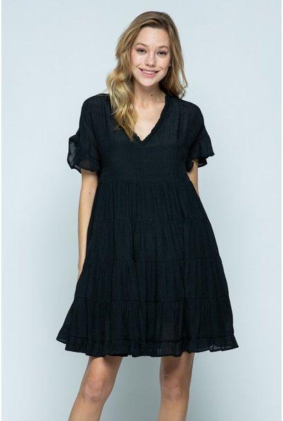 Tessa Tiered Dress BLK