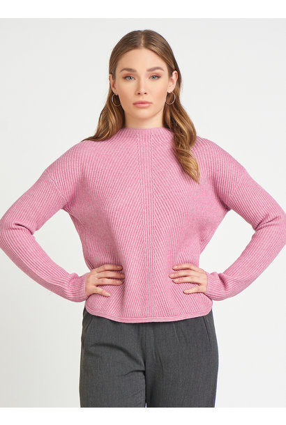 Mock Neck Ribbed Sweater PNK