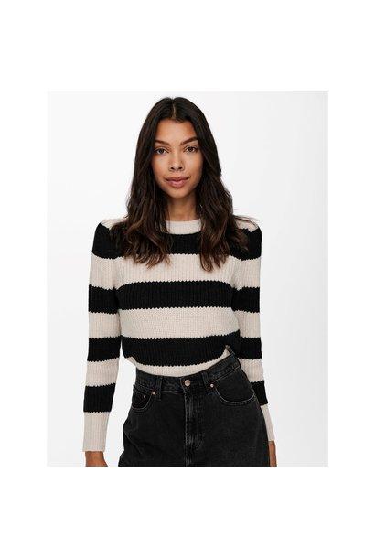 Nice Puff Sleeve Stripe Knit Sweater