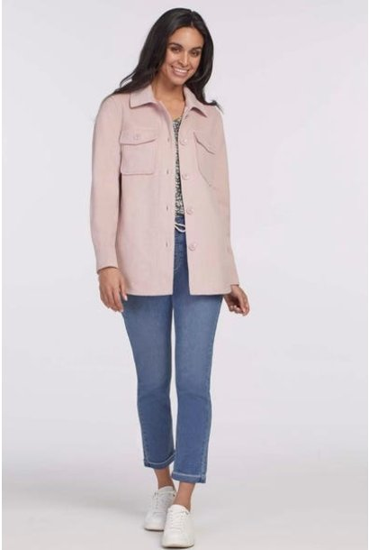 Woven Front Pocket Shacket LILAC MIST