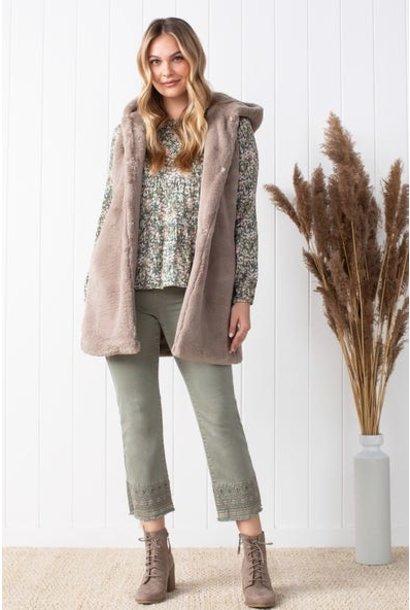 Faux Fur Hooded Vest FAWN