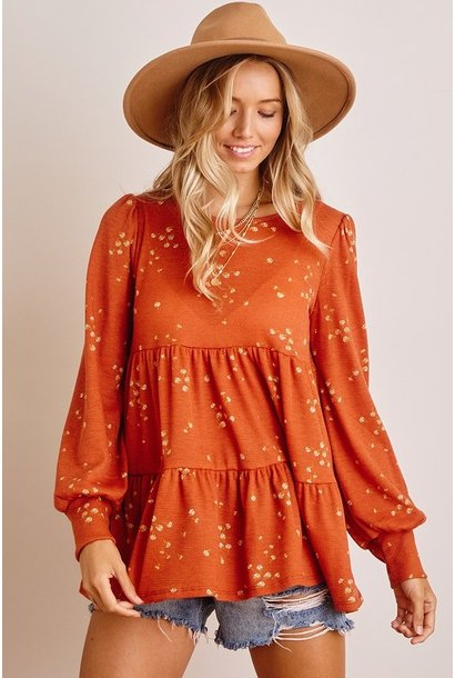 Fern Floral Tiered L/S Top RUST