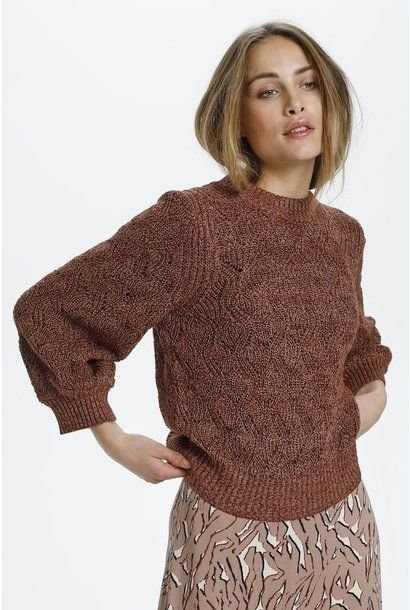 Pointa Pullover 3/4 Sleeve Sweater MAHOG