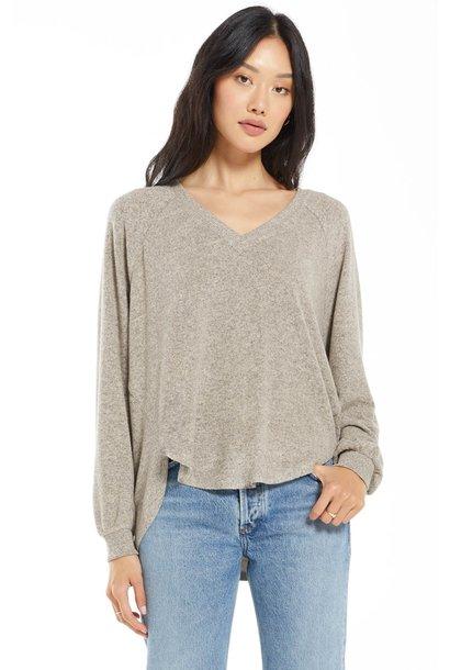 Plira Marled Vneck Pullover Sweater OAT