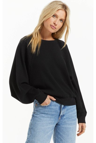 Claire Waffle Long Sleeve BLK