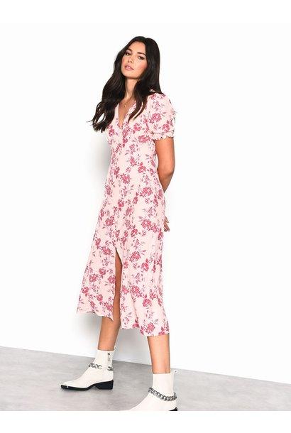 Floral Button Front Maxi Dress PNK