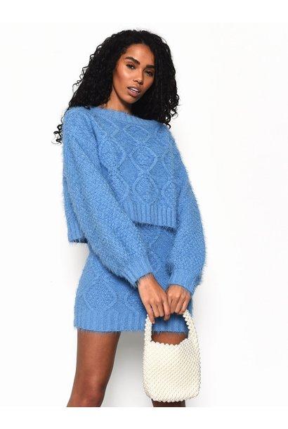 Crop Crew Sweater BLU