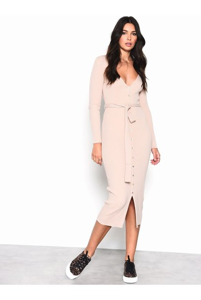 Button Front Sweater Midi Dress NUDE