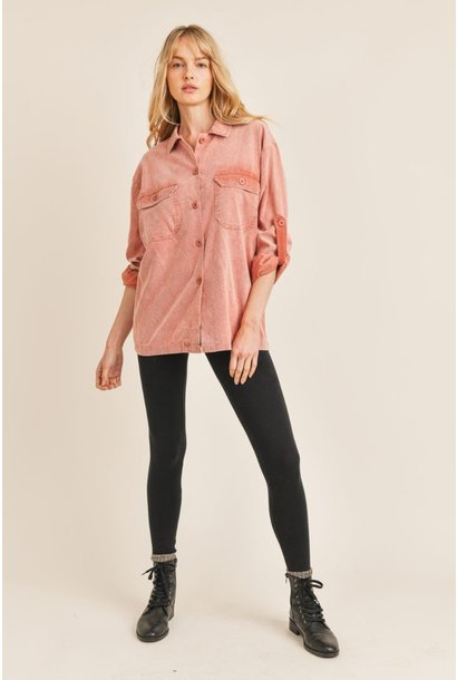 Dirty Rose Cord Shirt ROSE