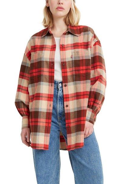 Rosie Plaid Utility Shirt RED