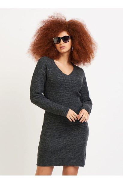 Weave Stitch V Neck Dress CHAR