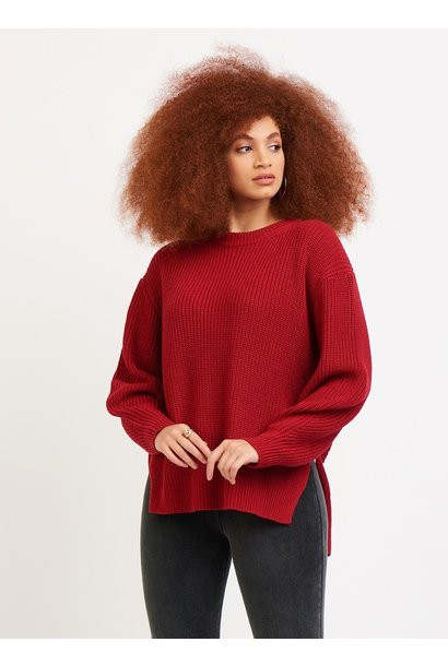 Crew Neck High Low Knit Sweater RED