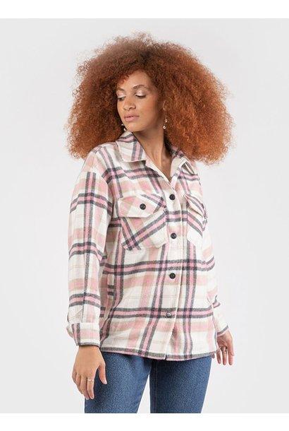 Button Front Plaid Overshirt WHT/PNK