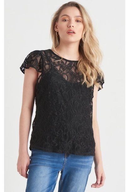 Lace Top With Shoulder Ruffle BLK