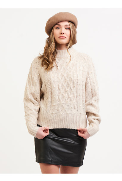 Cable Knit Sweater w.Pearls OAT