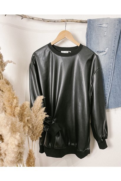 Vegan Leather Crew Sweatshirt BLK
