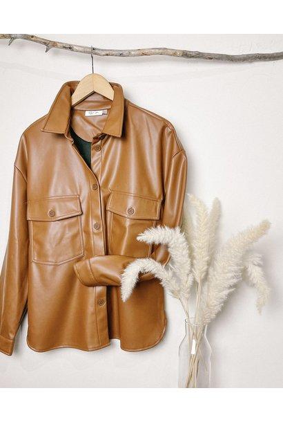 Vegan Leather Button Front Shirt COG