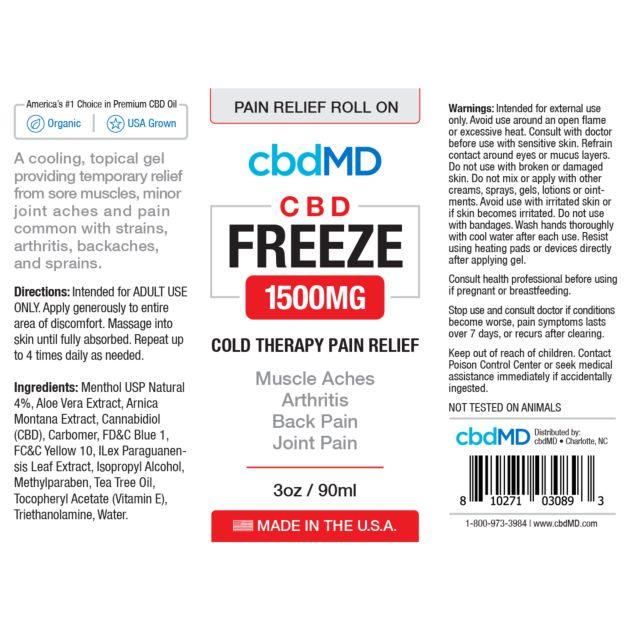 cbdMD CBD FREEZE ROLLER | 1500mg  | 3oz