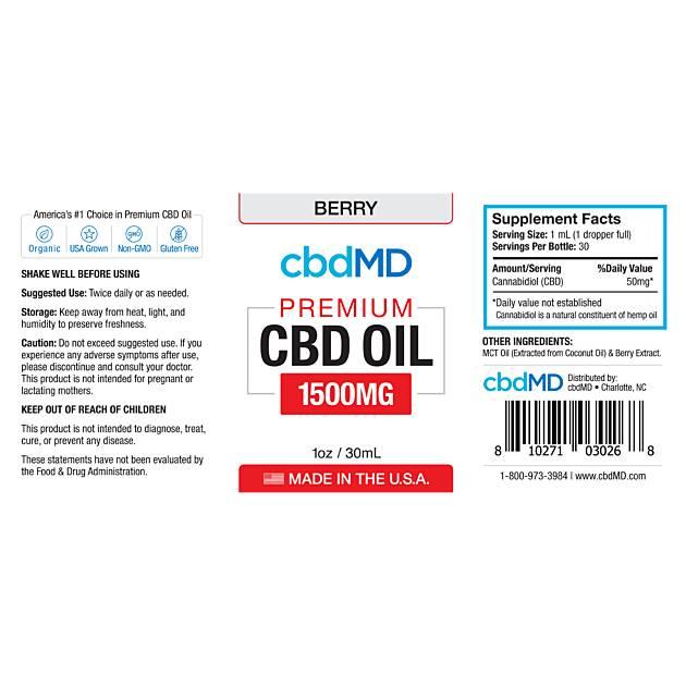 cbdMD CBD OIL TINCTURE DROPS | 1500mg | BERRY | 30ml BOTTLE