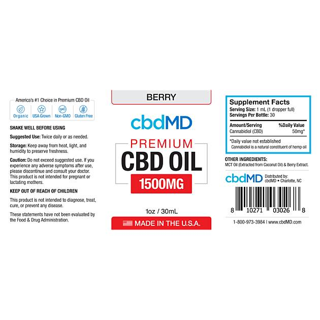 cbdMD CBD Oil Tincture Drops 1500mg Berry Flavor
