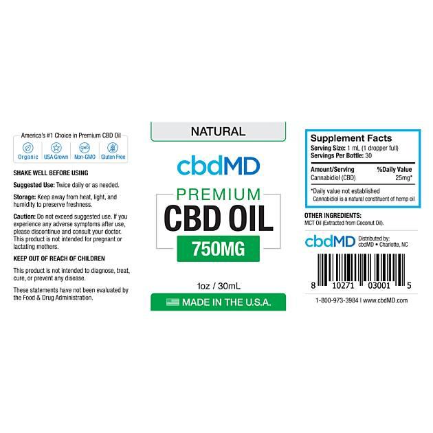 cbdMD CBD Oil Tincture Drops 750mg Natural Flavor