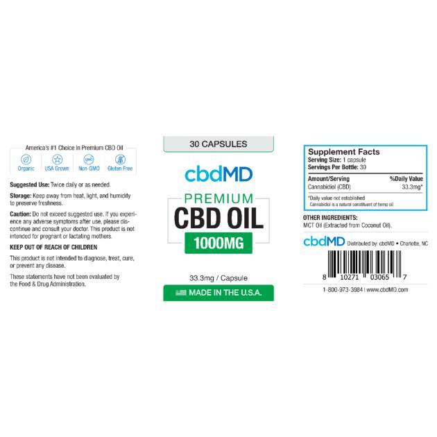 cbdMD CBD OIL CAPSULES | 1000mg | 30 COUNT