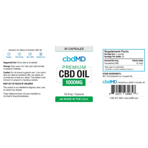 cbdMD cbdMD CBD Oil Capsules 1000mg 30 Count