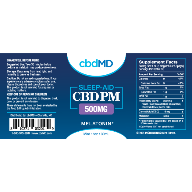 cbdMD CBD PM Oil Tincture Spray 500mg Sleep-aid Mint Flavor