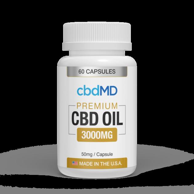 cbdMD CBD OIL CAPSULES | 3000mg | 60 COUNT