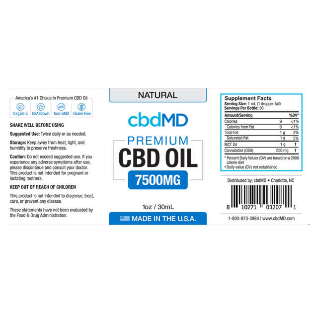 cbdMD CBD OIL TINCTURE DROPS | 7500mg | NATURAL FLAVOR