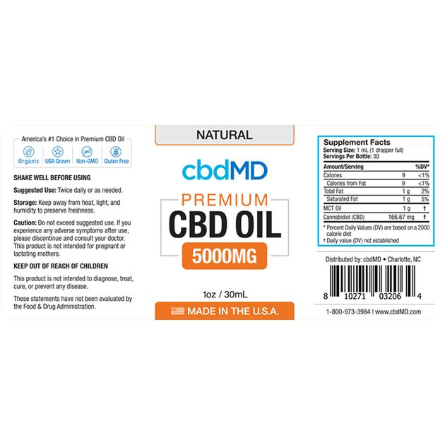 cbdMD CBD OIL TINCTURE DROPS | 5000mg | NATURAL FLAVOR