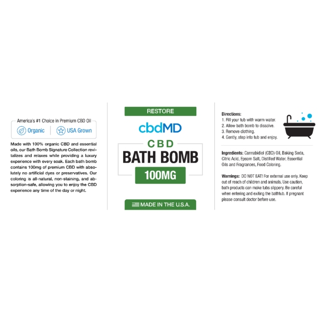 cbdMD cbdMD BATH BOMB | RESTORE   (ESSENTIAL OIL BLEND)
