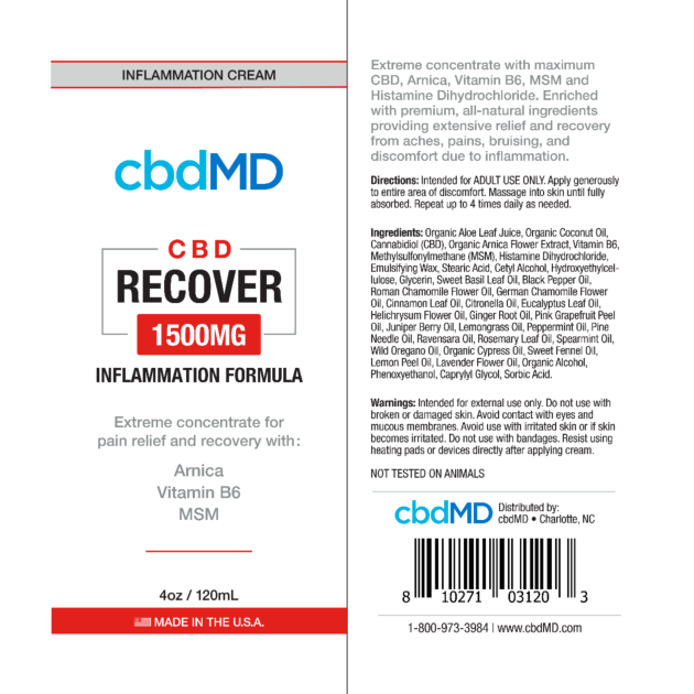 cbdMD INFLAMMATION FORMULA | RECOVER | 1500mg | SQUEEZE | 4oz
