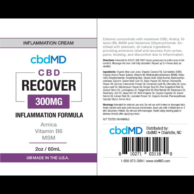 cbdMD INFLAMMATION FORMULA | 300mg | RECOVER | SQUEEZE | 2oz