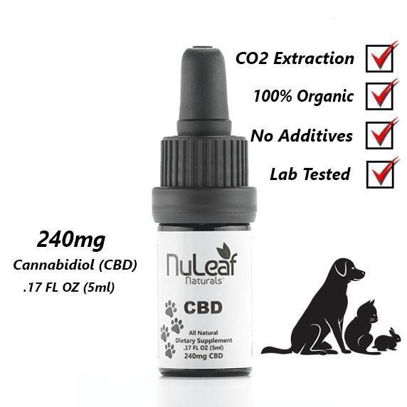 NuLeaf Naturals FULL SPECTRUM PET CBD OIL | HIGH GRADE HEMP EXTRACT | 240mg | 50mg per ml | 5ml Bottle