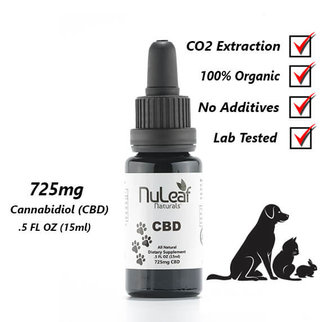 NuLeaf Naturals FULL SPECTRUM PET CBD OIL | HIGH GRADE HEMP EXTRACT | 725mg | 50mg per ml | 15ml Bottle