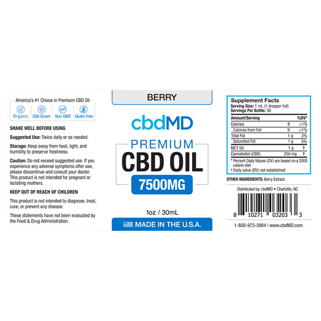 cbdMD CBD OIL TINCTURE DROPS | 7500mg | BERRY FLAVOR