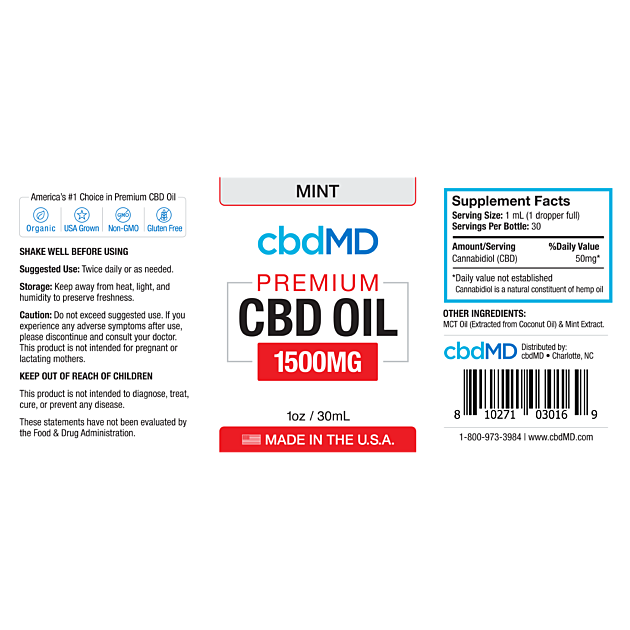 cbdMD CBD OIL TINCTURE DROPS | 1500mg | MINT FLAVOR