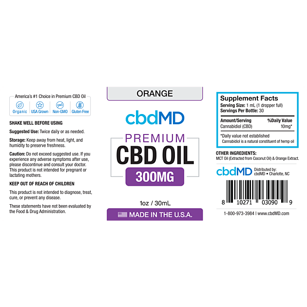cbdMD CBD OIL TINCTURE DROPS | 300mg | ORANGE | 30ml BOTTLE