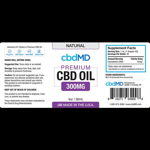 cbdMD CBD OIL TINCTURE DROPS | 300mg | NATURAL | 30ml BOTTLE