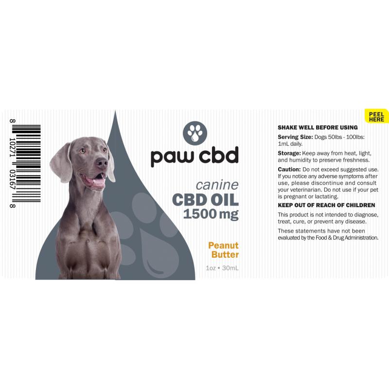 cbdMD CBD DOG TINCTURE | 1500MG | PEANUT BUTTER | 30ml BOTTLE