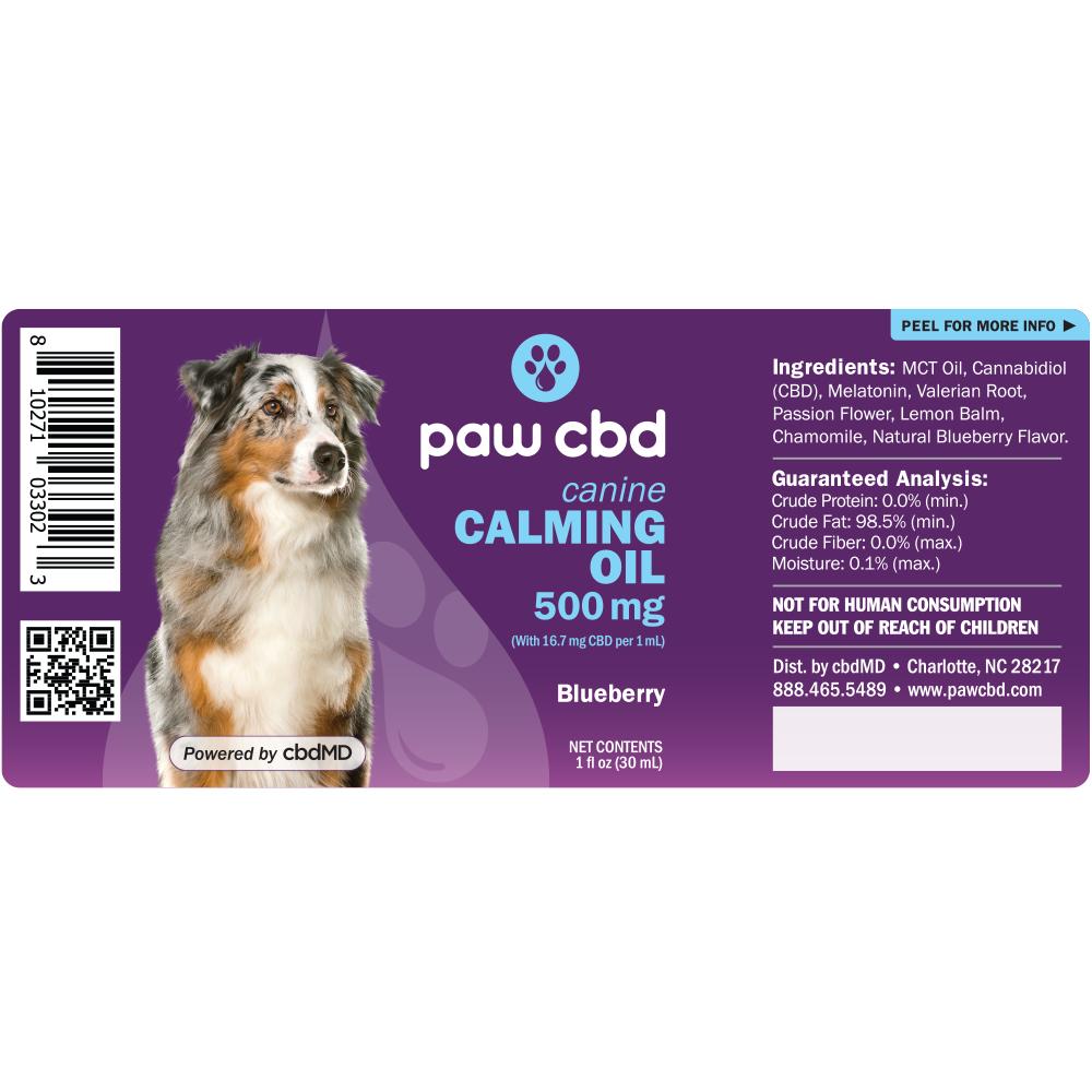 cbdMD CBD DOG CALMING TINCTURE   500MG   BLUEBERRY   30ml BOTTLE