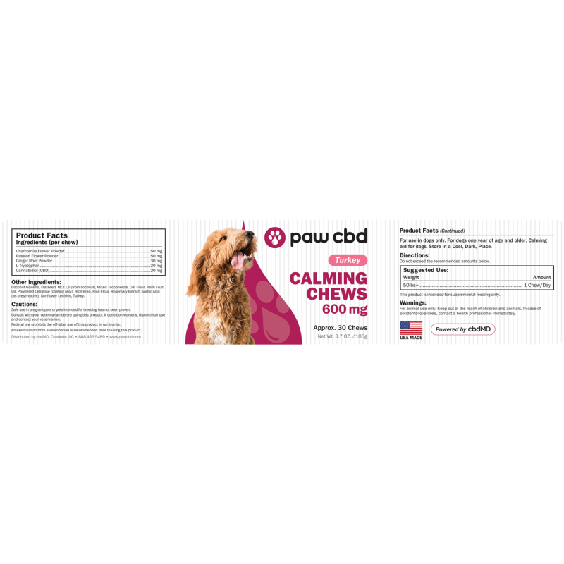 cbdMD PAW CBD DOG CALMING CHEWS | 600mg | Turkey | 30ct