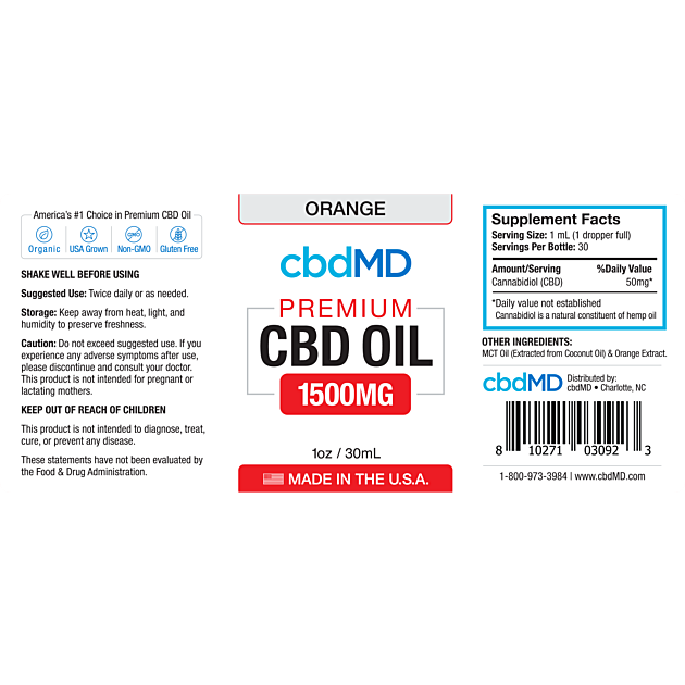cbdMD CBD OIL TINCTURE DROPS | 1500mg | ORANGE | 30ml BOTTLE