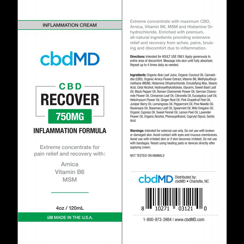 cbdMD INFLAMMATION FORMULA | RECOVER | 750mg | SQUEEZE | 4oz