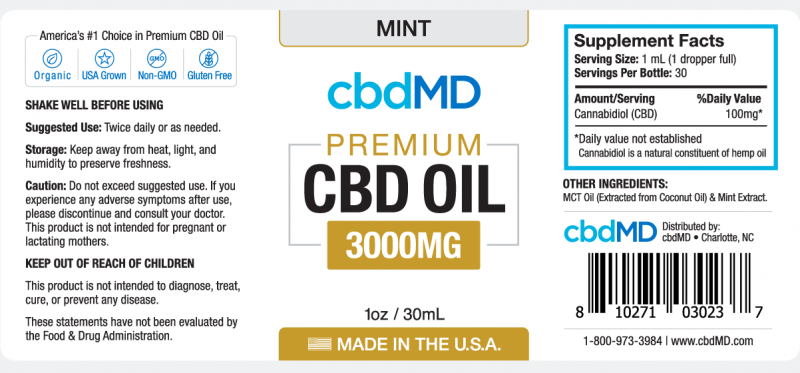 cbdMD CBD OIL TINCTURE DROPS | 3000mg | MINT