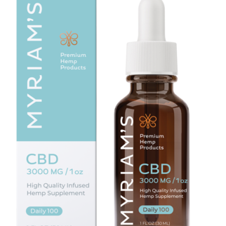 Myriam's Hemp | CBD OIL TINCTURE | DAILY 100 | 3000mg | 30ml BOTTLE |